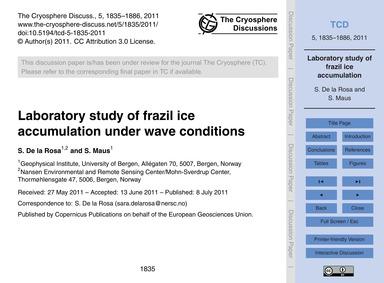 Laboratory Study of Frazil Ice Accumulat... by De La Rosa, S.