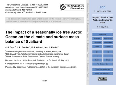 The Impact of a Seasonally Ice Free Arct... by Day, J. J.