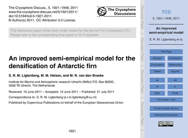 An Improved Semi-empirical Model for the... by Ligtenberg, S. R. M.