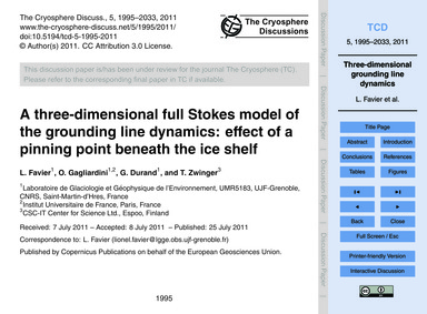 A Three-dimensional Full Stokes Model of... by Favier, L.