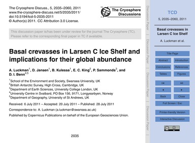 Basal Crevasses in Larsen C Ice Shelf an... by Luckman, A.