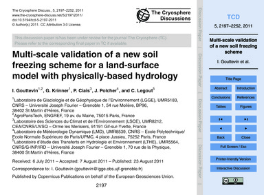 Multi-scale Validation of a New Soil Fre... by Gouttevin, I.