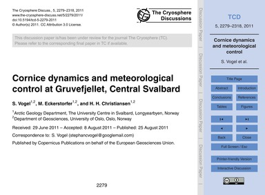 Cornice Dynamics and Meteorological Cont... by Vogel, S.
