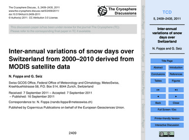 Inter-annual Variations of Snow Days Ove... by Foppa, N.