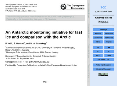 An Antarctic Monitoring Initiative for F... by Heil, P.