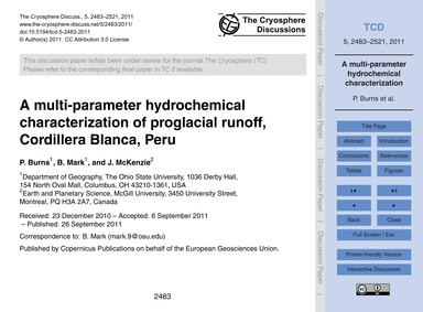 A Multi-parameter Hydrochemical Characte... by Burns, P.