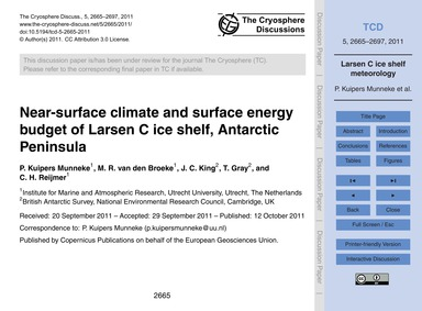 Near-surface Climate and Surface Energy ... by Kuipers Munneke, P.