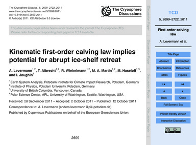 Kinematic First-order Calving Law Implie... by Levermann, A.