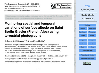 Monitoring Spatial and Temporal Variatio... by Dumont, M.