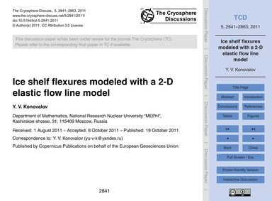 Ice Shelf Flexures Modeled with a 2-d El... by Konovalov, Y. V.