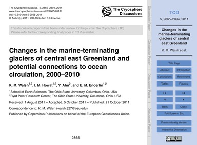 Changes in the Marine-terminating Glacie... by Walsh, K. M.