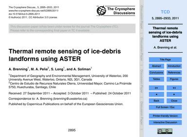 Thermal Remote Sensing of Ice-debris Lan... by Brenning, A.