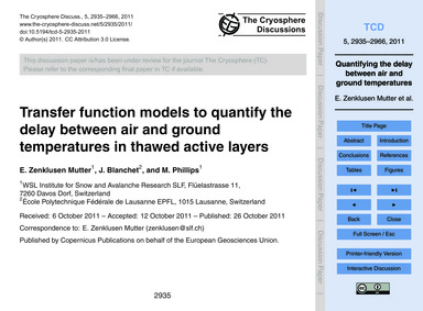 Transfer Function Models to Quantify the... by Zenklusen Mutter, E.
