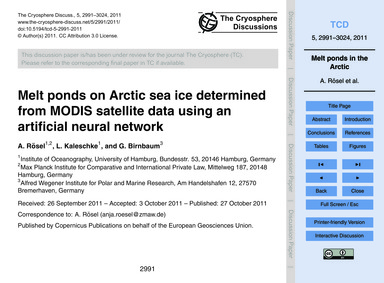 Melt Ponds on Arctic Sea Ice Determined ... by Rösel, A.