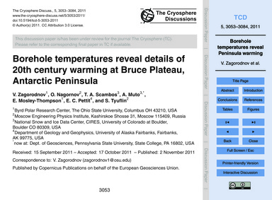 Borehole Temperatures Reveal Details of ... by Zagorodnov, V.