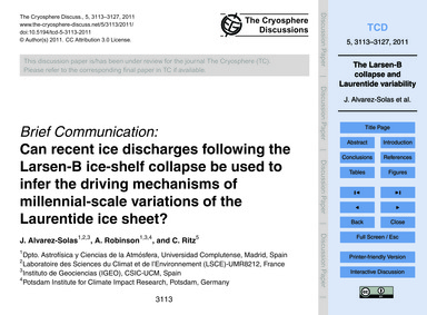 Brief Communication: Can Recent Ice Disc... by Alvarez-solas, J.
