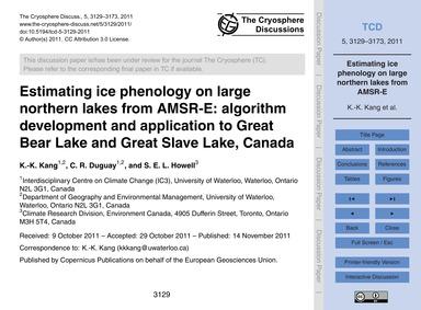 Estimating Ice Phenology on Large Northe... by Kang, K.-k.