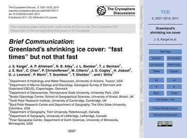 Brief Communication: Greenland's Shrinki... by Kargel, J. S.
