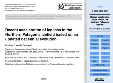 Recent Acceleration of Ice Loss in the N... by López, P.