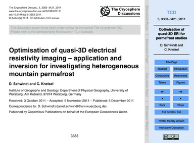 Optimisation of Quasi-3D Electrical Resi... by Schwindt, D.