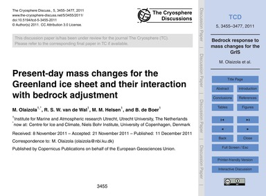 Present-day Mass Changes for the Greenla... by Olaizola, M.
