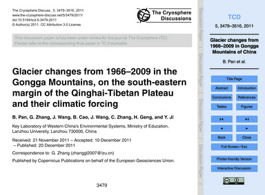 Glacier Changes from 1966–2009 in the Go... by Pan, B.