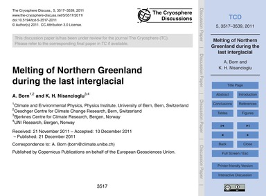 Melting of Northern Greenland During the... by Born, A.
