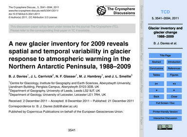 A New Glacier Inventory for 2009 Reveals... by Davies, B. J.
