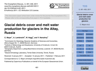 Glacial Debris Cover and Melt Water Prod... by Mayer, C.