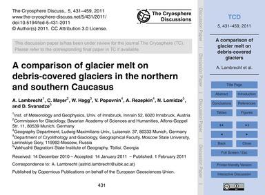 A Comparison of Glacier Melt on Debris-c... by Lambrecht, A.