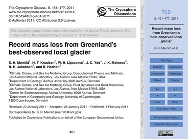 Record Mass Loss from Greenland's Best-o... by Mernild, S. H.