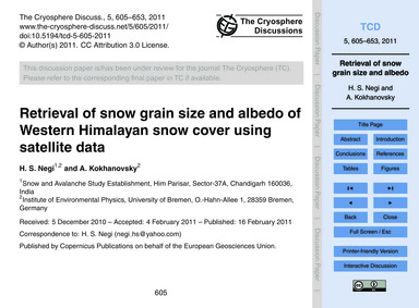Retrieval of Snow Grain Size and Albedo ... by Negi, H. S.