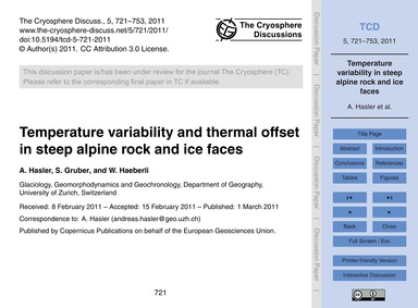 Temperature Variability and Thermal Offs... by Hasler, A.
