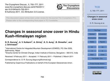 Changes in Seasonal Snow Cover in Hindu ... by Gurung, D. R.