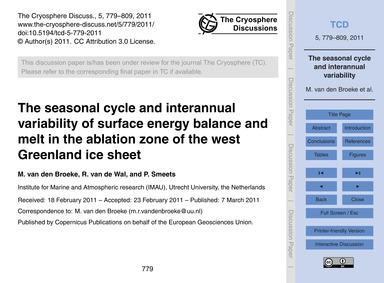 The Seasonal Cycle and Interannual Varia... by Van Den Broeke, M.