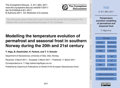 Modelling the Temperature Evolution of P... by Hipp, T.