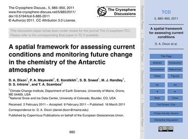 A Spatial Framework for Assessing Curren... by Dixon, D. A.