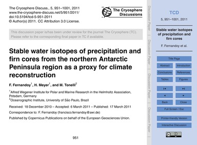 Stable Water Isotopes of Precipitation a... by Fernandoy, F.