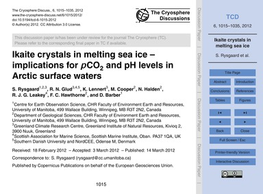 Ikaite Crystals in Melting Sea Ice – Imp... by Rysgaard, S.