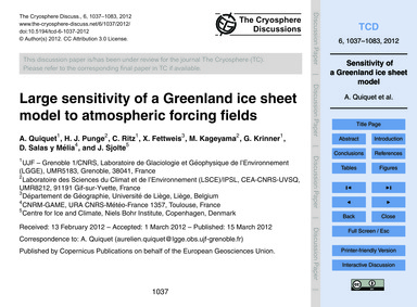Large Sensitivity of a Greenland Ice She... by Quiquet, A.