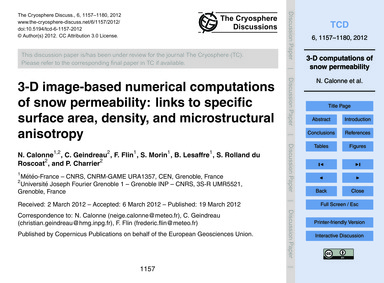 3-d Image-based Numerical Computations o... by Calonne, N.