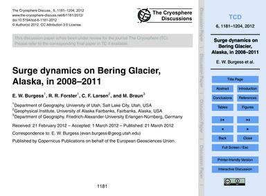 Surge Dynamics on Bering Glacier, Alaska... by Burgess, E. W.