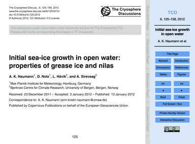 Initial Sea-ice Growth in Open Water: Pr... by Naumann, A. K.