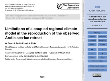 Limitations of a Coupled Regional Climat... by Dorn, W.