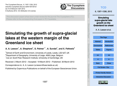 Simulating the Growth of Supra-glacial L... by Leeson, A. A.