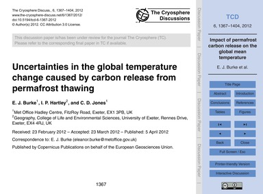 Uncertainties in the Global Temperature ... by Burke, E. J.