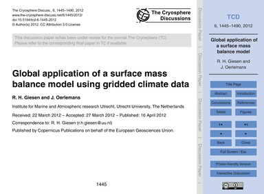 Global Application of a Surface Mass Bal... by Giesen, R. H.