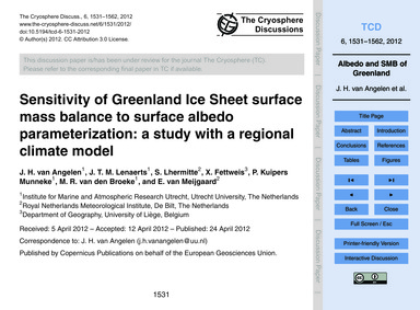 Sensitivity of Greenland Ice Sheet Surfa... by Van Angelen, J. H.
