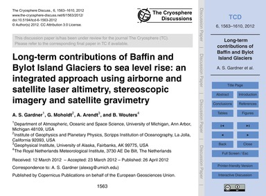 Long-term Contributions of Baffin and By... by Gardner, A. S.