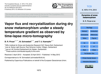 Vapor Flux and Recrystallization During ... by Pinzer, B. R.